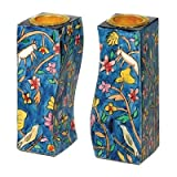 Flowers and Birds Fitted Shabbat Candlestick Holders, Hand Painted by Yair Emanuel with Brass Candle Inserts