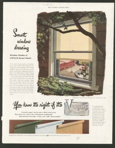 Vintage Magazine Ad: Bakelite Company - Smart Window Dressing Vinylite Window Shades - 1950 Saturday Evening Post