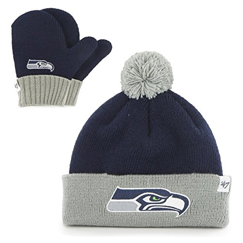 Nfl Seattle Seahawks Toddler '47 Brand Bam Bam Cuff Knit Pom Hat And Mittens Set, Light Navy