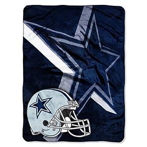"NFL Dallas Cowboys 60-Inch-by-80-Inch Micro Raschel Blanket, ""Bevel"" Design"