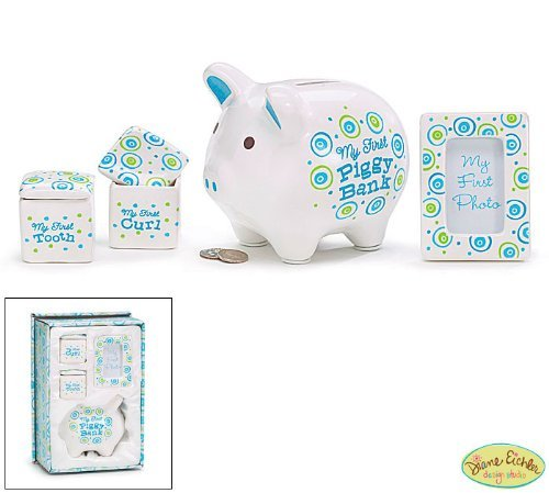 """It's A Boy"" Baby Keepsake Gift Set with First Piggy Bank,Frame,Curl Box and Tooth Box - 1"