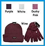Ladies Chunky Knit Thinsulate Fleece Lined Ski Hat & Gloves
