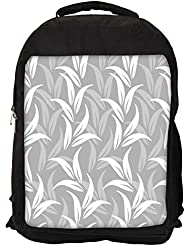 "Snoogg White And Grey Leaves Casual Laptop Backpak Fits All 15 - 15.6"" Inch Laptops"