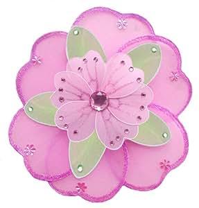 "Hanging Flower 10"" Medium Dark Pink Fuchsia Green Pink Triple Layered Nylon Flowers Decorations Decorate Baby Nursery Bedroom Girls Room Ceiling Wall Decor Wedding Birthday Party Shower Child 3D Art"