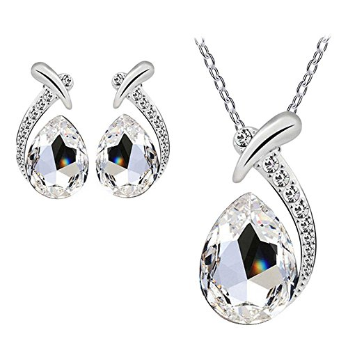 sannysis-women-crystal-pendant-silver-plated-chain-necklace-stud-earring-jewelry-set-white