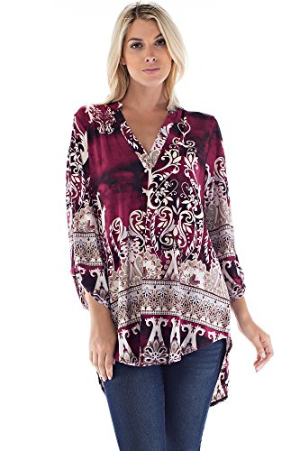 Betsy Red Couture Women's Plus Size Notch Neck Tunic Top