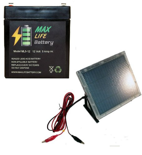 12V 5Ah Battery For Interstate Power Patrol Sec1055 With 12V Solar Panel Charger