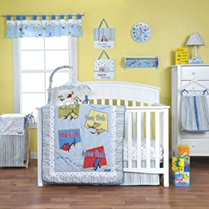 Dr seuss one fish two fish 4 piece baby crib bedding set for Fishing nursery bedding