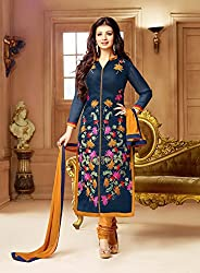 Shree Khodal Women's Blue Cotton Dress Material [SK_JCN1006_D]