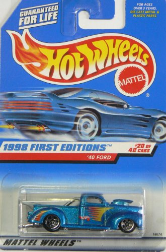 Hot Wheels - 1998 First Editions - 1940 Ford Pickup - Die Cast - #20 of 40 Cars - Blue Metallic Paint - Collector #654 - Limited Edition - Collectible 1:64 Scale - 1