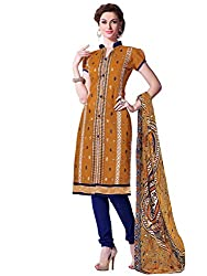 Golden Colour Chanderi Embroidery Unstitched Dress Material
