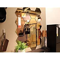 12Pcs 3D Mirror Gold Removable Wall Sticker