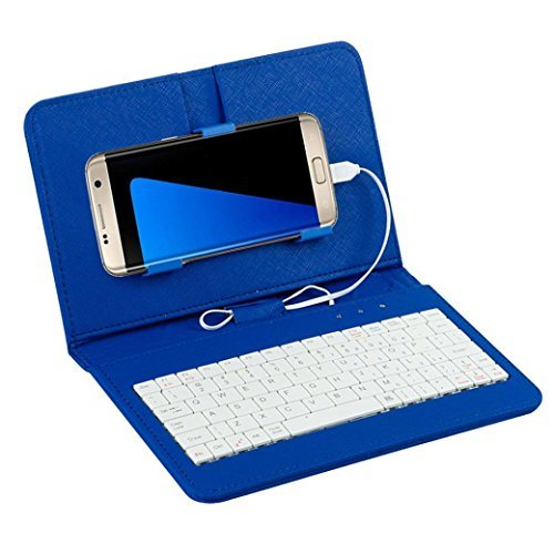 EKIMI Keyboard General Wired Flip Holster Case For Andriod Mobile Phone BU (Mobile Phones Direct compare prices)