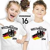 Deutschland Kinder Weltmeister 2014 T-Shirt personalisiert mit eigener Rückennummer und Wunschname