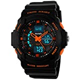 BesWLZ Multi Function Digital LED Quartz Watch Water Resistant Electronic Sport Watches Child Orange