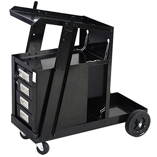 New Goplus® Welding Welder Cart MIG TIG ARC Plasma Cutter Tank Storage w/ 4 Drawer Cabinet