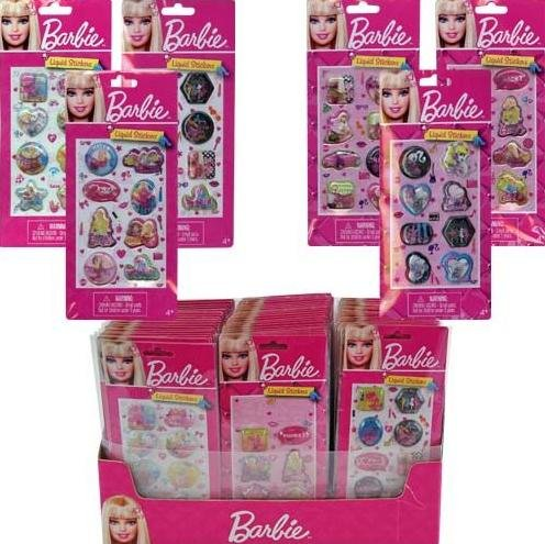 Barbie Liquid Sticker on a card x 3 pack (assorted designs randomly pick)