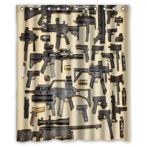 Custom Firearms Guns Shower Curtain Stylish Waterproof Polyester Fabric Bathroom Deco 60