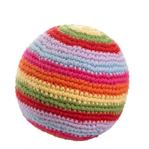 Pebble: Ball Rattle - Multi-colored Stripes