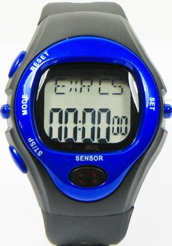Pulse Watch Heart Rate Monitor Measures Calories Burned Digital Chronograph Stopwatch