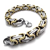 Konov Jewellery Men's Classic Stainless Steel Link Box Bracelet, Colour Silver Gold, Length 9 inch (with Gift Bag)