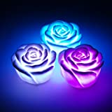 6 Battery Powered, Flameless, NON-Waterproof, Color Changing LED Romantic Rose Flower Night Light/Candle. Smokeless and gives off no heat.