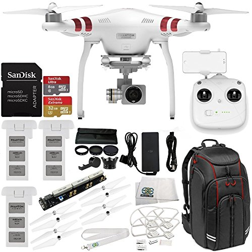 DJI Phantom 3 Standard w/ 2.7K Camera, 3-Axis Gimbal & Manufacturer Accessories + 2 DJI Batteries + Professional Video Equipment Backpack + 7PC Filter Kit (UV-CPL-ND2 400-Hood-Stabilizer) + MORE
