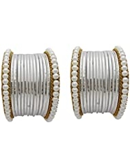Designer White Pearl Bridal Bangles Set By My Design(size-2.8)