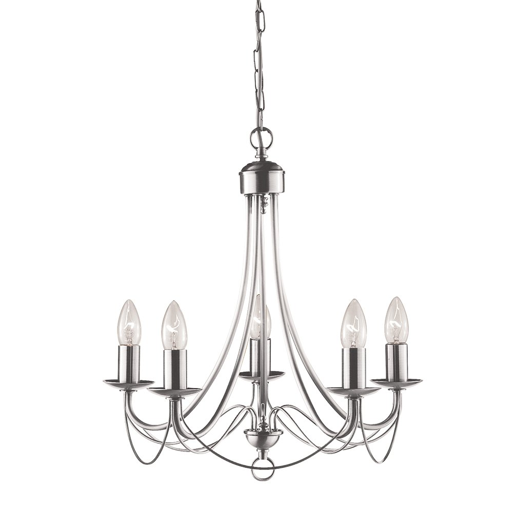 Maypole 5 Light Chandelier Finish  Satin Silver       reviews and more information