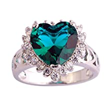 buy Psiroy 925 Sterling Silver Exquisite Heart Shaped Green Sapphire Clearance Engagement Filled Ring For Women