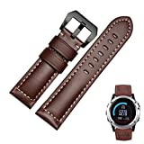 Wristband ,Vanvler Genuine Leather Watch Replacement Band Strap + Lugs Adapters For Garmin Fenix 3 / HR 2017 (Brown)