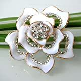Navachi 18k Gold Plated Clear Crystal White Enamel Flower Az7433b Brooch Pin