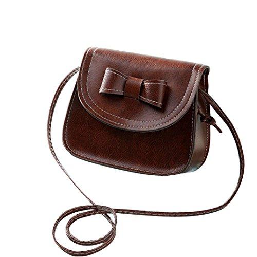 Borsa a tracolla Clode® Donne Bowknot Moda Borsetta di Pelle Singola Spalla Messenger Bag Phone (Colour : Caffè)