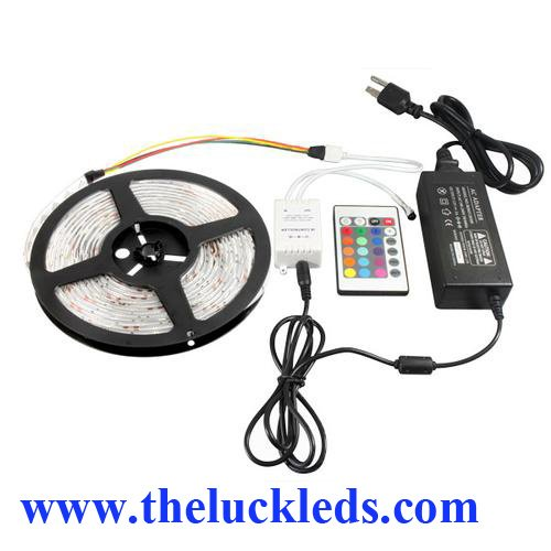 Theluckleds RGB Color Changing Waterproof LED Flexible strip IR Controller AC adapter