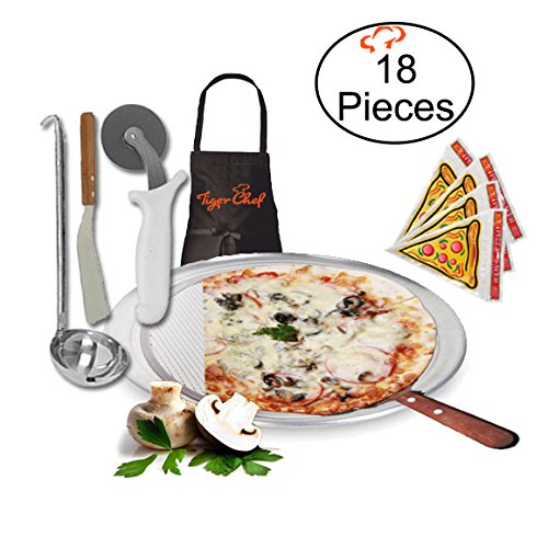Tiger Chef 12-Inch Pizza Supplies Set - Includes Pizza Pan, Screen, Wheel, Server, Ladle, Apron, 12 Pizza Saver Bags