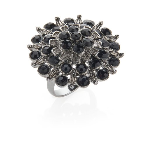Black Encrusted Costume Jewellery Fashion Ring. Medium, letter N, 17mm