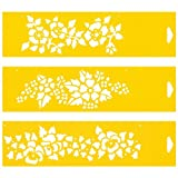 Set of 3 - 30cm x 8cm Reusable Flexible Plastic Stencils for Cake Design Decorating Wall Home Furniture Fabric Canvas Decorations Airbrush Drawing Drafting Template - Strawbery Flowers Floral Pattern
