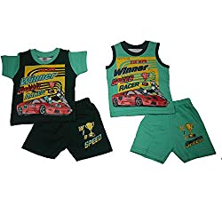 NammaBaby Premium Quality T-Shirt and Nekar Shorts Combo Setof 4 Pc (3-6 Month)