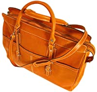 Floto Casiana Tote in Orange Leather - luggage, travel bag, leather bag