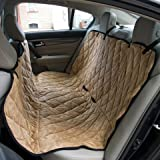 """Dog Travel Hammock & Back Seat Cover - Protect Your Car, Truck or SUV From Dirt, Hair or Dander With This Durable Super Soft Heavy Gauge Waterproof Fabric - Perfect for Large & Small Pets. Also Protects Your Furniture, Couches & Sofas - 57 1/2"""" x 58 1/2"""" - Golden Brown"""