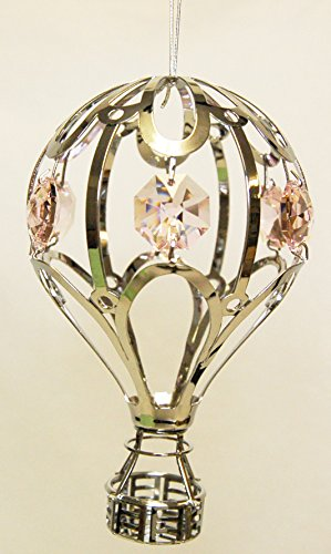 Chrome Hot Air Balloon Ornament – Pink Color Swarovski Crystal
