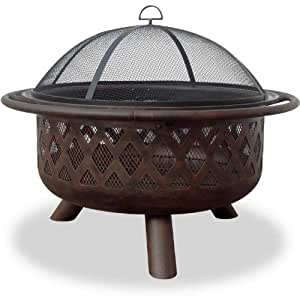 Steel wood burning fire pit patio lawn for Amazon prime fire pit