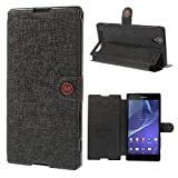 Smays M Leather Wallet Protective Case with Stand for Sony Xperia T2 Ultra D5306 / Ultra dual D5322 (Black)