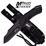 """Master Cutlery MX-8123 9.25"""" Tactical Fix Blade, Black Rubber Handle with Molle Sheath"""