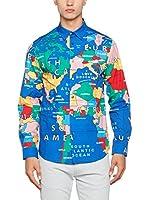 Love Moschino Camisa Hombre (Azul / Multicolor)