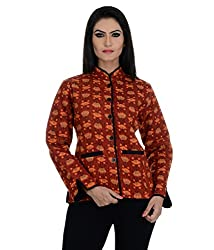 Aarohee Women's Block Printed Cotton Quilted Jacket (AAC36_Rust_Medium)