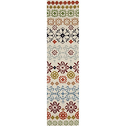 Safavieh Wyndham Collection WYD319A Handmade Ivory and Multi Wool Area Rug, 2 feet 6 inches by 4 feet (2'6