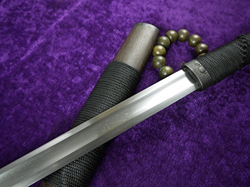 Longquan sword/Chinese war sword/Pattern-welded steel blade/Rosewood scabbard/Full tang/Length 39""