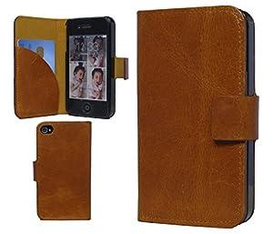 Nerocco ledertasche leder flip case hülle tasche book cover schutzhülle etui bumper handytasche für iPhone 4 4S braun mit EC-Kreditkartenfach