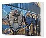 Canvas Print of New York Manhattan city skyline and tower viewer telescope binoculars on the